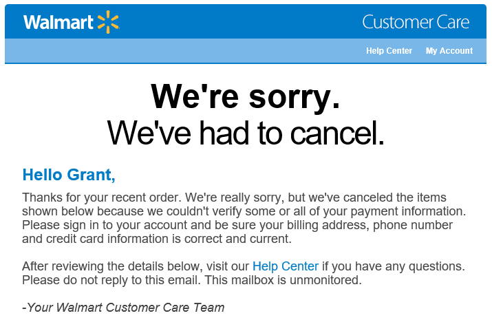 How to cancel walmart order