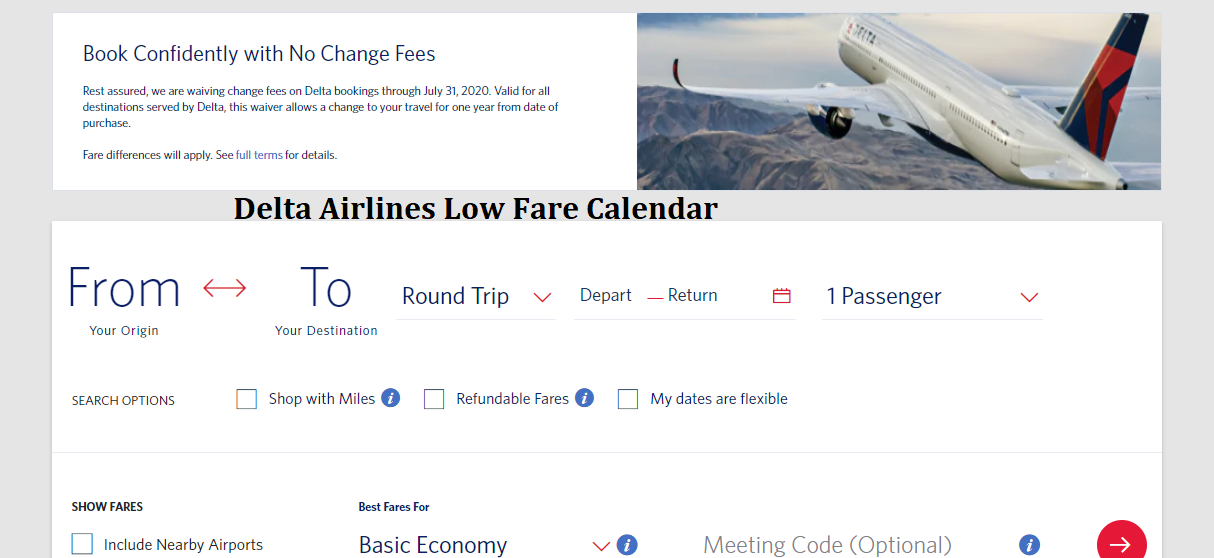 Delta Airlines Low Fare Calendar