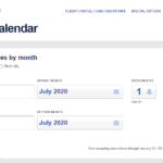 Southwest Airlines low fare calendar